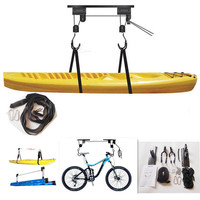 Kayak Hoist Canoe Boat Bike Lift Pulley System Garage Ceiling Storage Rack Bicycle Rack With 15M Rope Capacity Max Load 60KG New