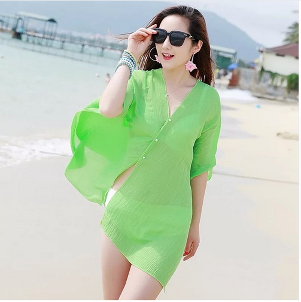 New 2019 Summer Sexy Women Cover Up Kaftan Chiffon Swim Wear Beach Wear Bikinis Sundress Beach Dress