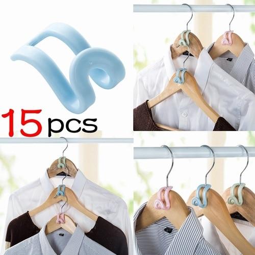 15Pcs Creative Mini Clothes Hanger Plastic Home Easy Hook Closet Organizer Storage Rack Holder Hook DIY Clothes Hanger