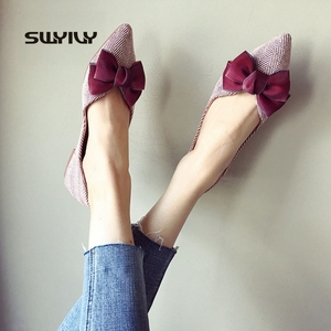 Image 4 - أحذية نسائية من SWYIVY أحذية بدون كعب للنساء 2019 أحذية نسائية غير رسمية بفيونكة مخططة بدون كعب أحذية بدون كعب مقاس 41 لون أسود