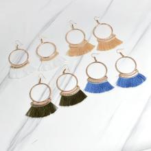 цена на Bohemia Women Multiple Color Fan Tassel Earrings Hoop Drop Round Pendant Ear Drop Hook Dangle Earrings Jewelry For Female Gifts