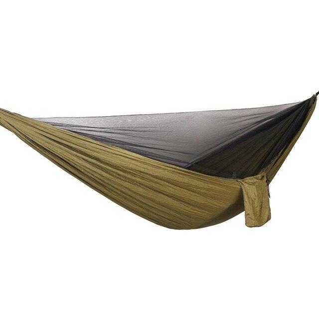 Ulatralightダブル蚊帳ハンモック簡単セットアップhamak 290*140センチメートル風のロープ爪ポータブルキャンプ旅行ヤード