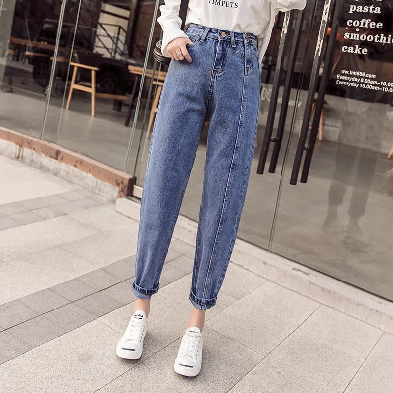 Double Crotch Zipper Jeans For Women High Waisted Boyfriend Jeans Loose Fit Casual Baggy Jeans Women Ladies Denim Trousers 2019