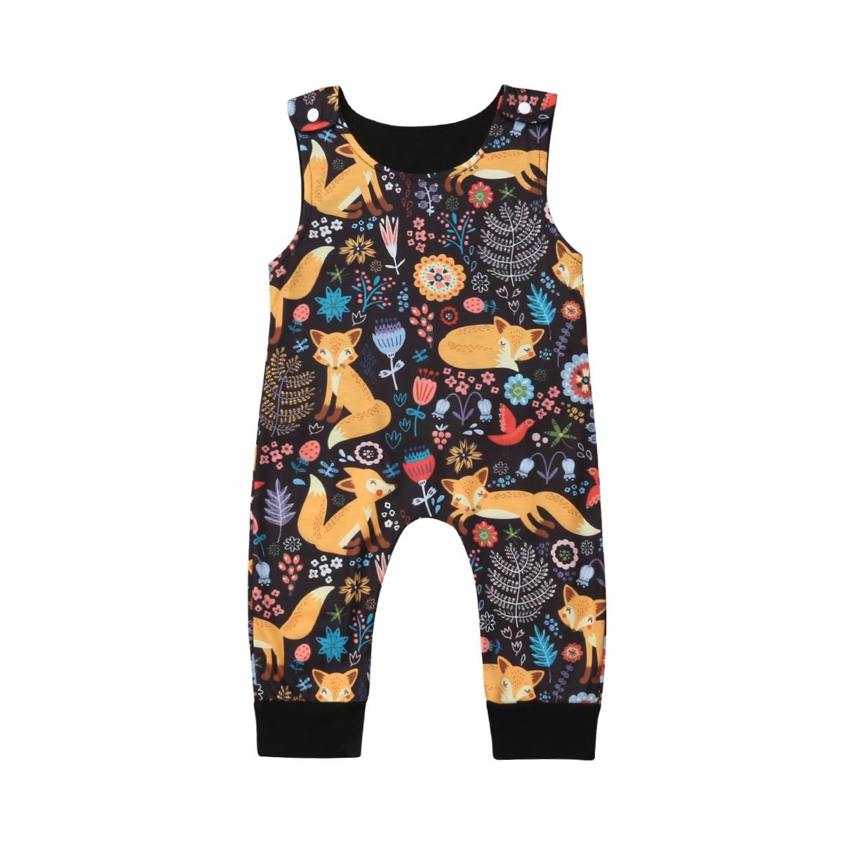 0-18 Mt Nette Neugeborene Baby Junge Mädchen Ärmellose Blumen Cartoon Fuchs Strampler Overall Outfits Baby Kleidung Sommer Eine Lange Historische Stellung Haben