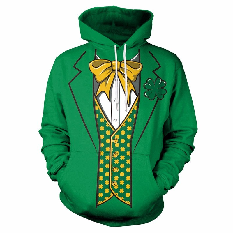 Adult Lucky Clover 3D Printed Hooded Sweatshirt Men Women Harajuku Fashion Hoodies St.Patrick's Day Party Costume