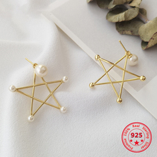 Pure 925 Silver European American New Design Creative Concise Big Hollow Star Pearl Stud Earrings Fine Jewelry