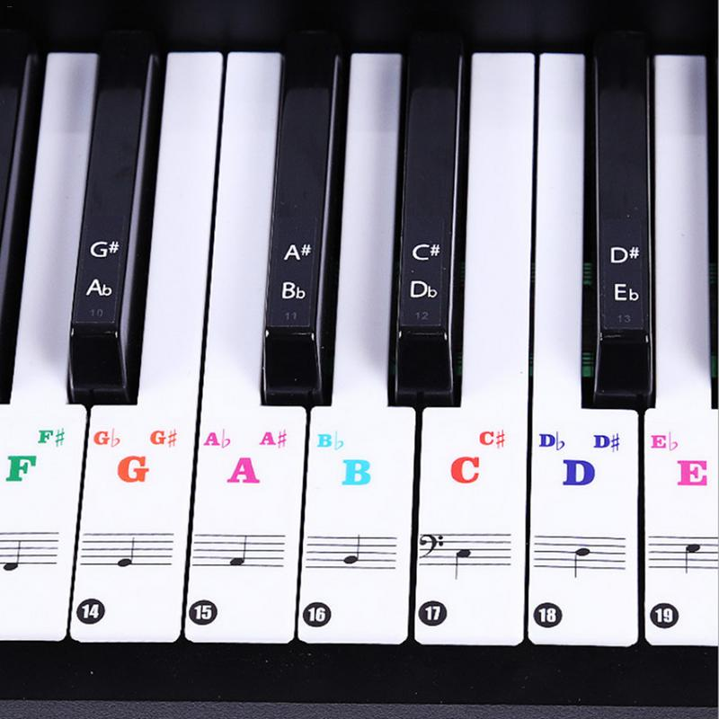 88/61/54 Keys Colorful Piano Keyboard Sound Name Stickers Piano Keyboard Electronic Keyboard Stickers Music Decal Label Note
