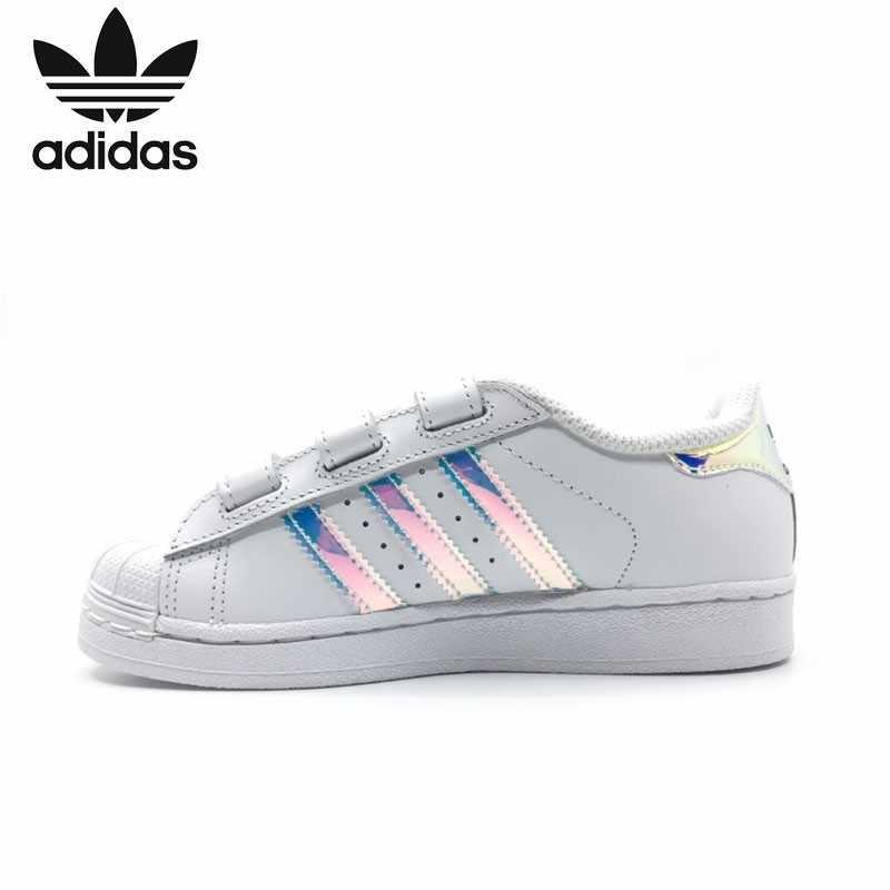 Адидас суперзвезда Cf оригинальные детские классические ботинки для скейтбординга Детские анти-скользкие спортивные кроссовки # AQ6280