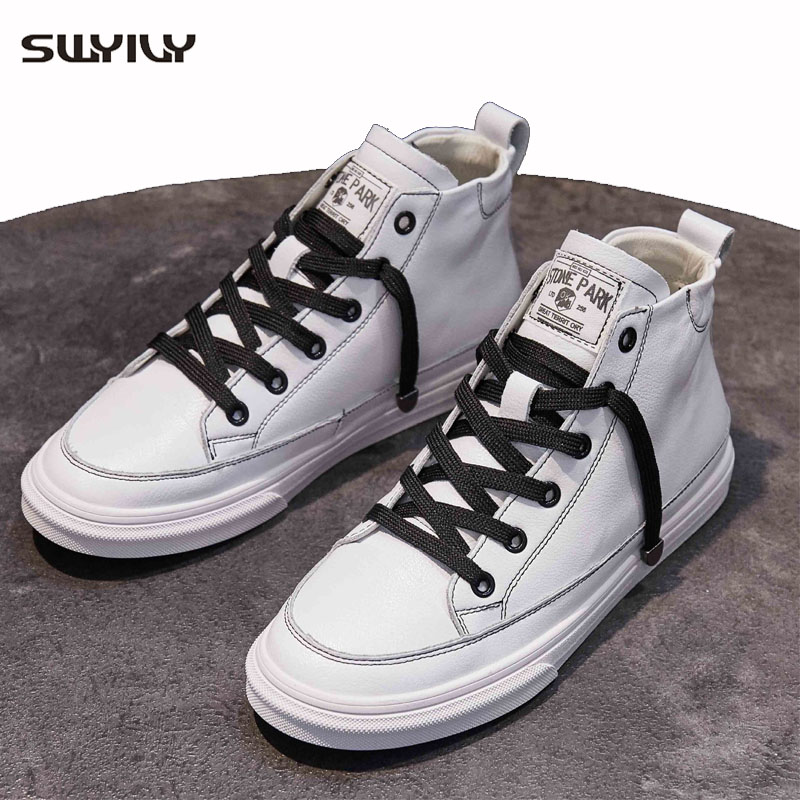 SWYIVY Chaussures Femme High Top Sneakers Women 2019 Autumn White Casual Shoes Woman Sneakers For Women Vulcanize Ladies Shoe