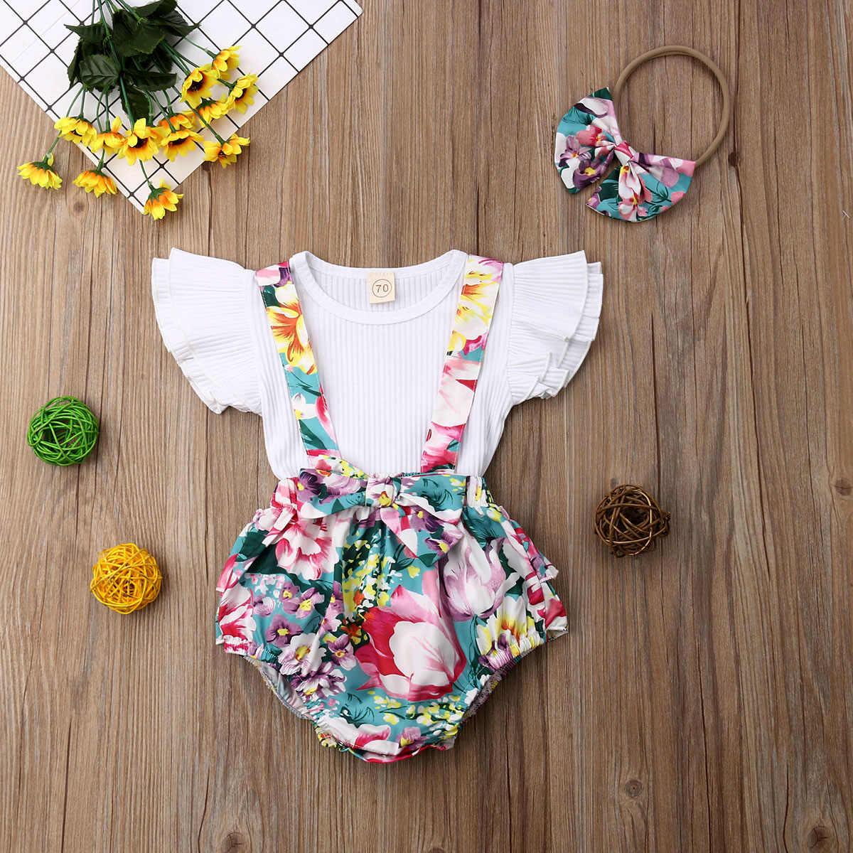 자매 일치 큰 여동생 소녀 옷 세트 꽃 인쇄 t-셔츠 탑스 턱받이 반바지 드레스 머리띠 복장 옷