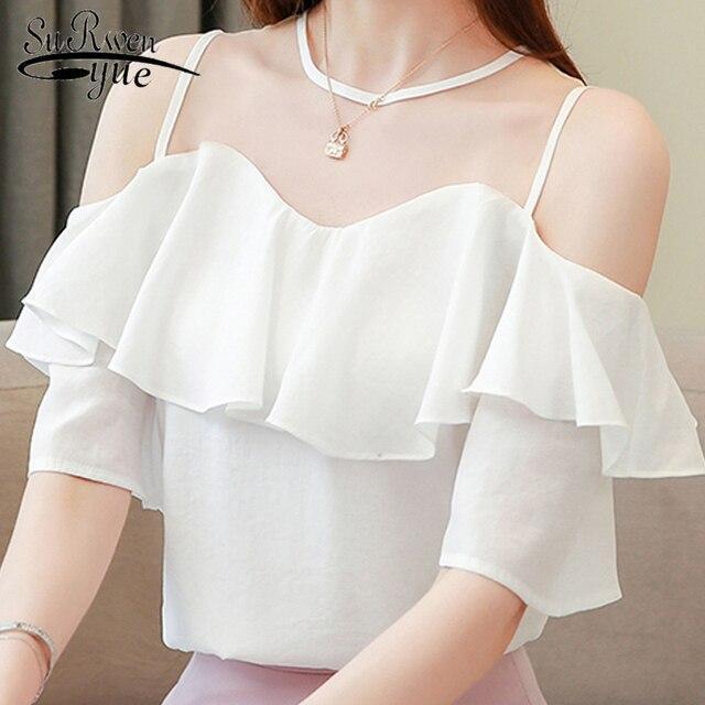 Blusas mujer דה moda 2019 כבוי כתף חולצות לנשים קצר שרוול מוצק O-צוואר לבן שיפון חולצה נשים חולצות 3890 50