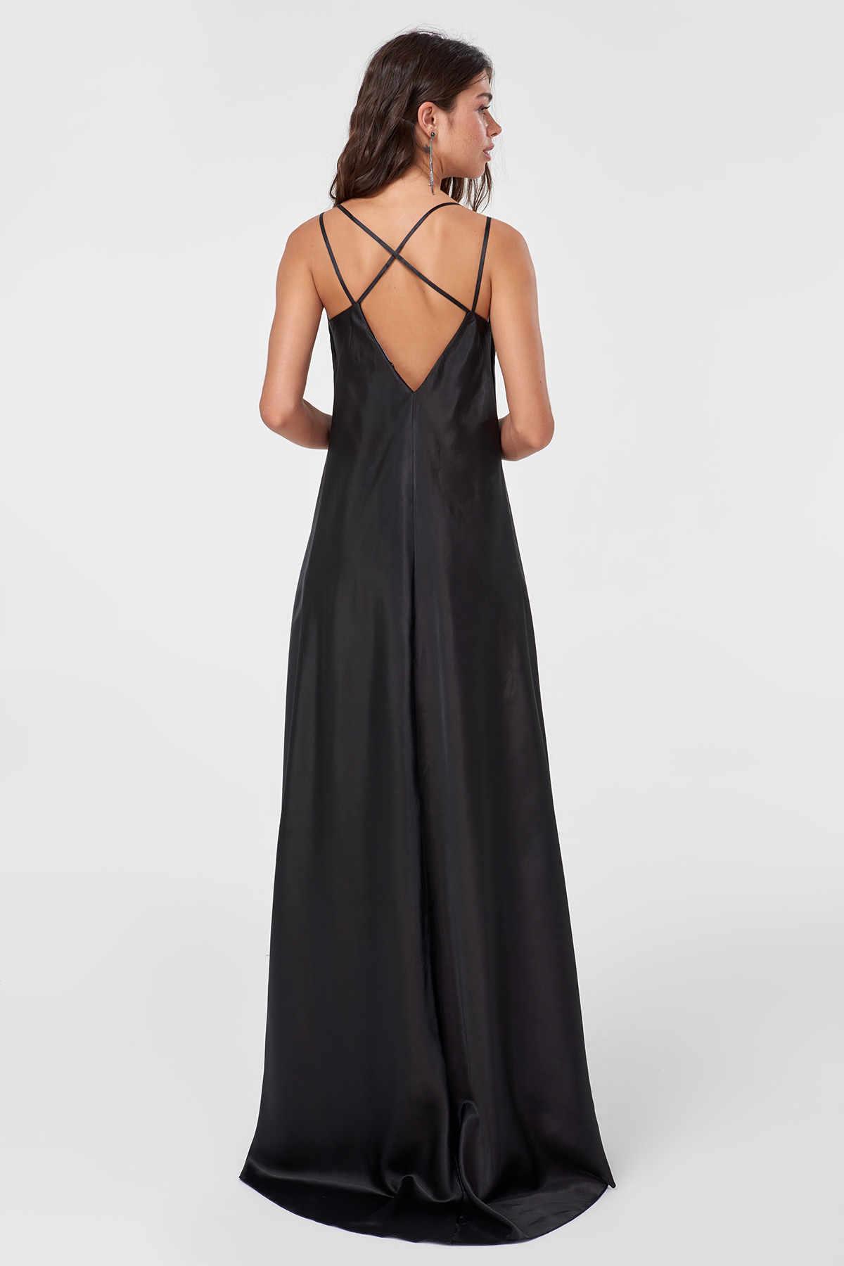 Trendyol детальный разрез Черное атласное вечернее платье TPRSS18ZI0004