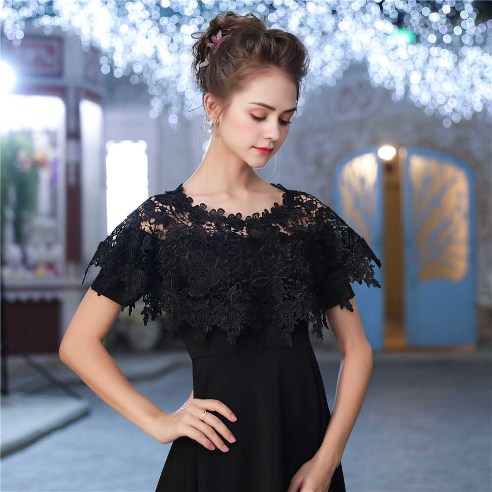 ... Short Black Lace Cape Women Evening Party Wrap Vintage Bridal  Sleeveless Bolero Jacket Wedding Accessories Handmade ... fb9fcbac1887