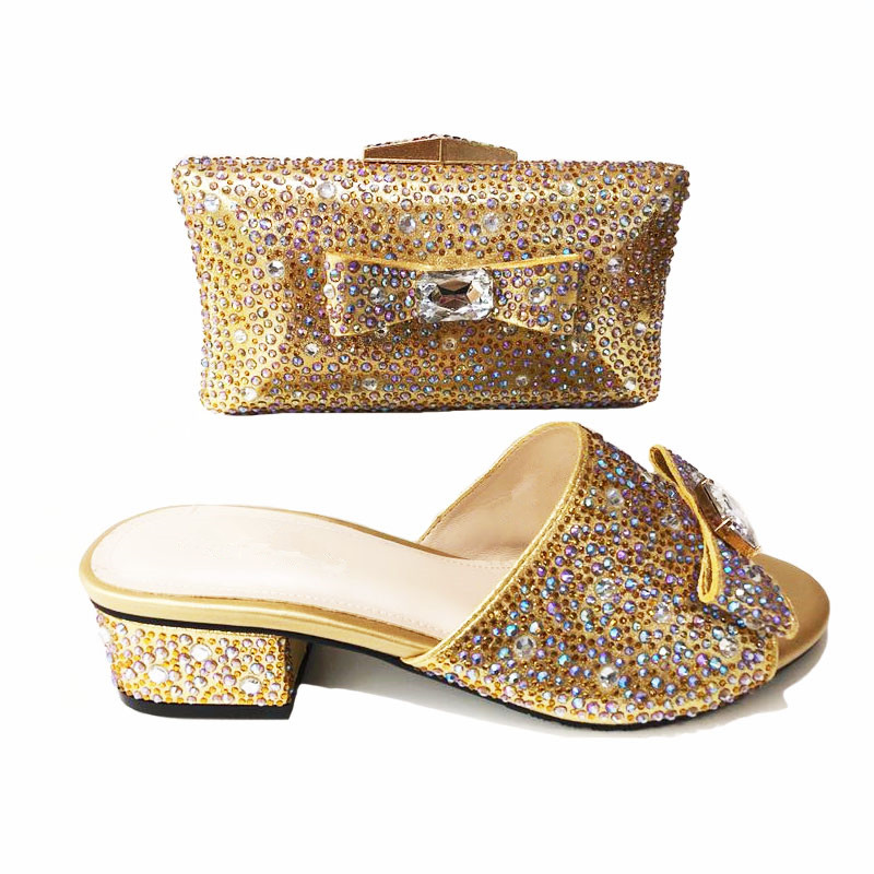 00221-4 Gold Color African shoe and bag set Italian shoe with matching bag best selling ladies matching shoe and bag Italy shoes fashion african shoe and bag set for party italian shoe with matching bag new design ladies matching shoe and bag italy bch 22