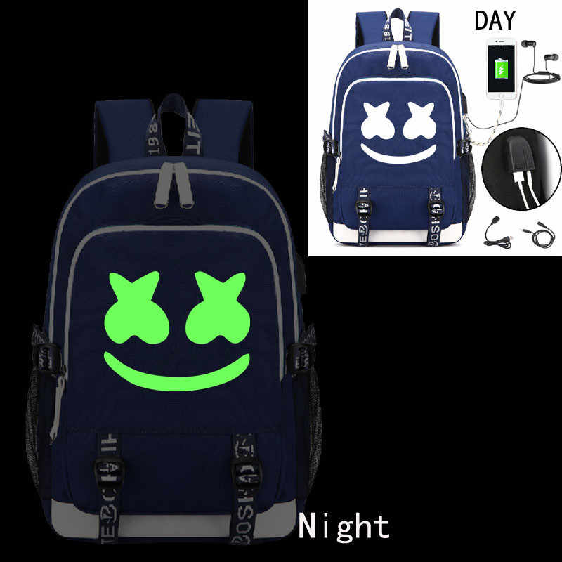 efd8bffbcbe8 Marshmallow CosLuminous USB Schoolbag Backpack DJ Marshmello Bag Charged  Bag Unisex Ruckpack Student Satchel Halloween Cos
