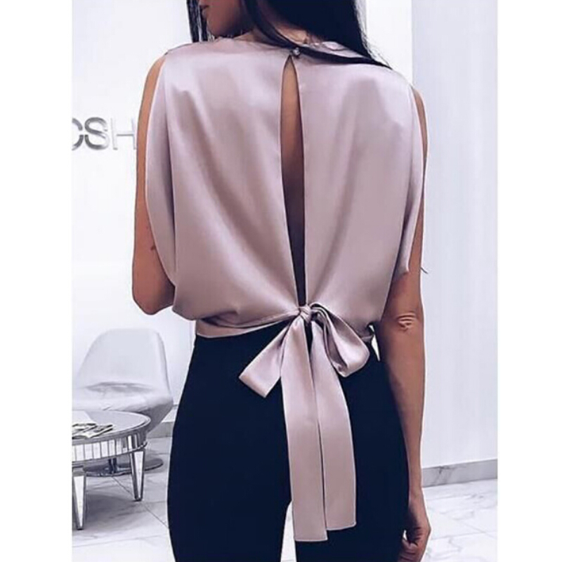 Summer Cami Women Sexy Backless   Tank     Top   Solid SatinVest Back Bandage Bowknot Short Tee   Top   Shirt Women   Tanks