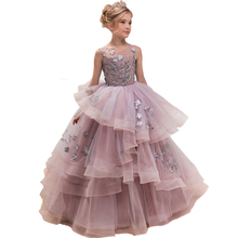 Princess Pageant Dresses for Girls 4-12 years Puffy Flower Girls Prom Dress Kids Ball Gowns 2019 Elegant Girls Party Dresses