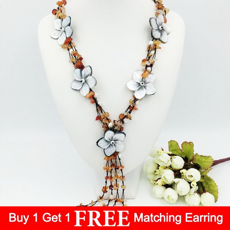 цена на Natural Stone Red Carnelian&Mother of pearl shell flowers 25inches Tassels Necklace for women nice gift