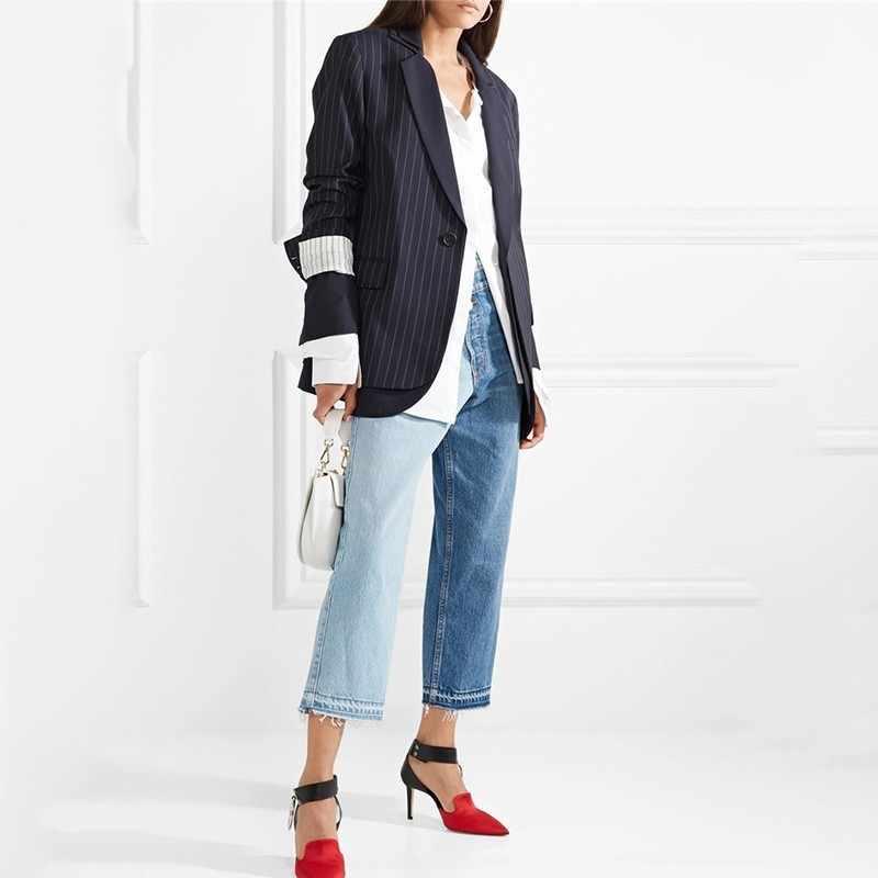 TWOTWINSTYLE джинсовые прямые брюки для женщин с высокой талией мозаичное яркое цветное джинсы длиной до щиколотки Женская мода 2019