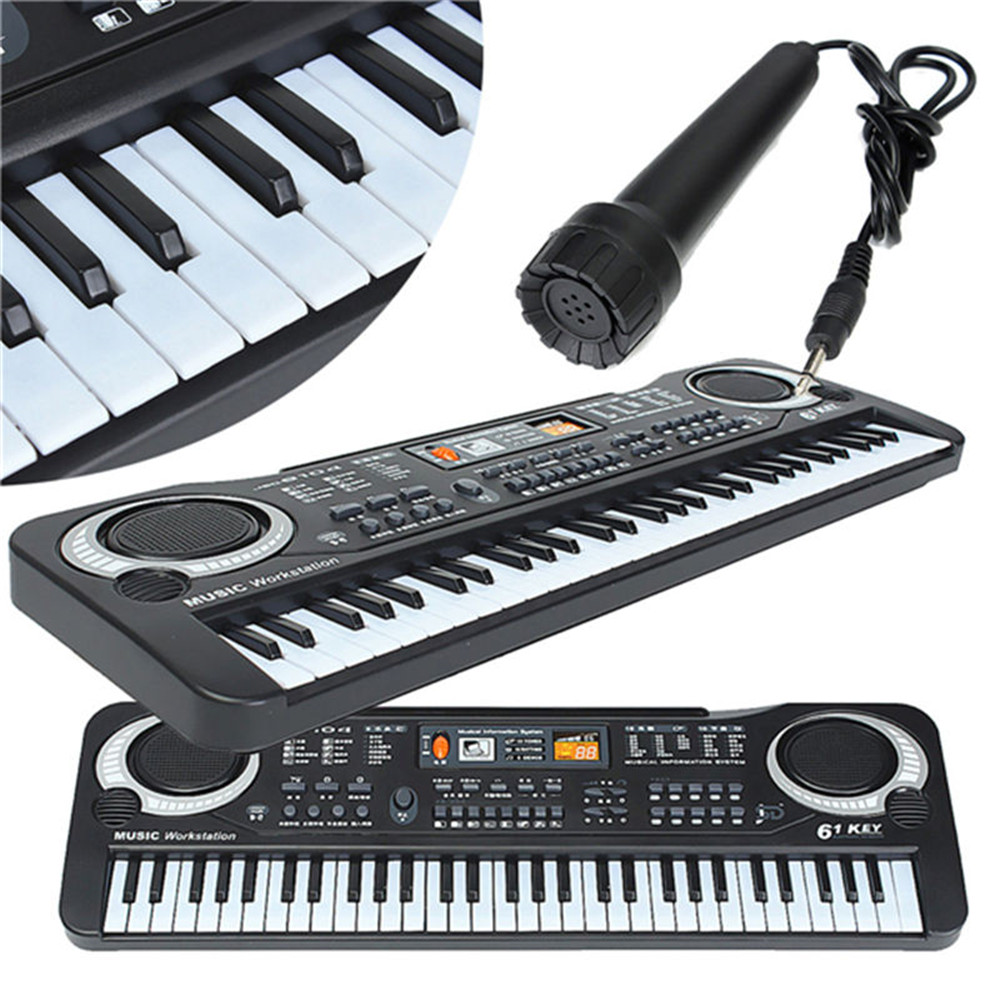 ABS 61 Keys 16 Sounds 10 Rhythms Electric Keyboard Multifunctional Mini Electronic Piano With Microphone Piano Toy For Children