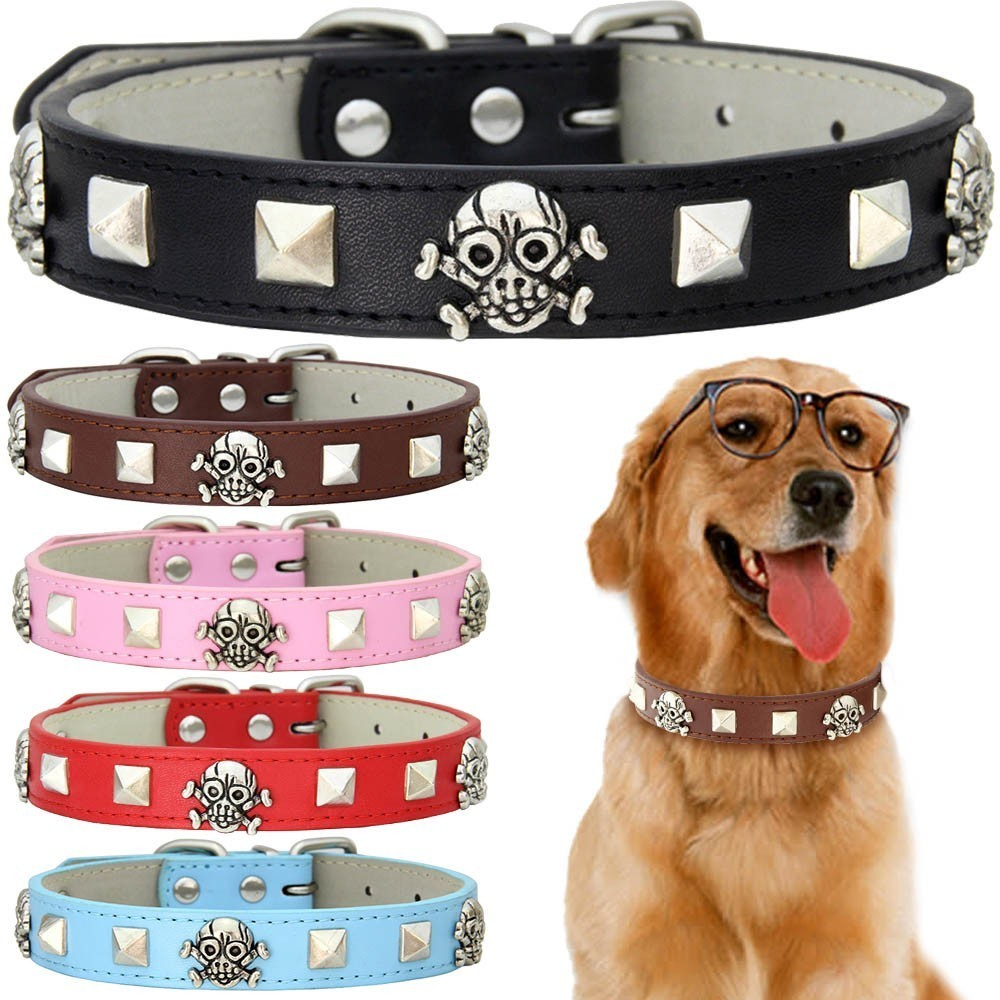 5 Color Skull Studded Dog Cat Collar Leather Puppy Adjustable Collars for Small Medium Large Neck Strap XS-XL Dropshipping