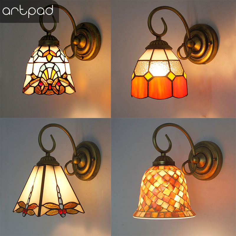 Mediterranean Mosaic Style LED Indoor Wall Light for Home Lighting Stained Glass Sconce Bathroom Mirror Front