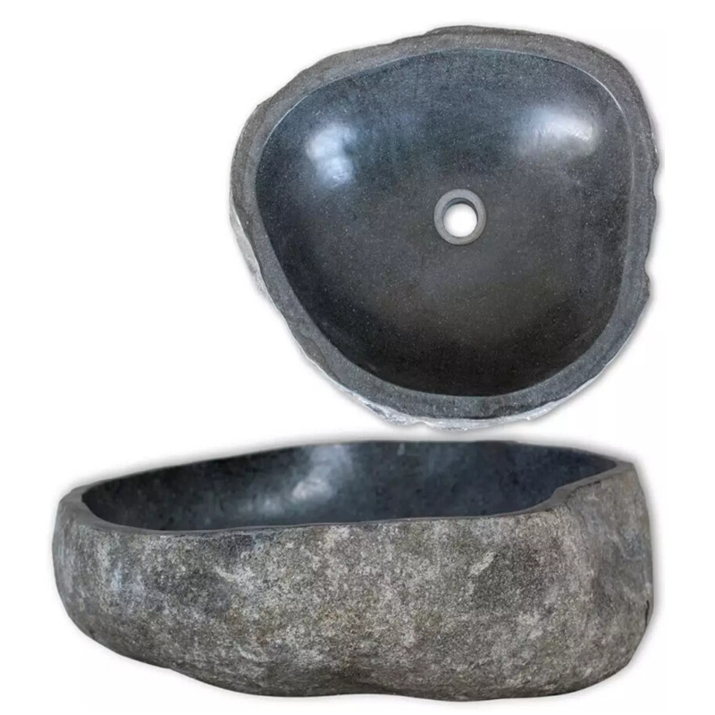 VidaXL Basin River Stone Oval 46-52cm Oval-shaped Wash Basin Natural River Stone To Any Bathroom Or Washroom