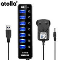 atolla 7Port Powered USB 3.0 Hub with Fast Charging Port for Mac Apple Macbook Surface Pro Multi Port Extender with Power Supply