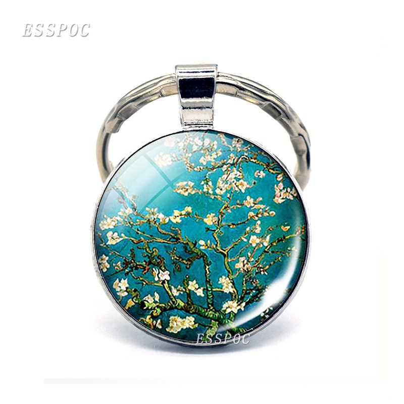 Van Gogh Almond Cabang Mekar Gantungan Kunci Van Gogh Seni Gantungan Kunci Cabochon Kaca Van Gogh Kunci Jaringan Ring Hadiah Fashion