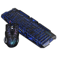 Red/Purple/Blue Led Backlight USB Wired Laptop PC Pro Gaming Keyboard Mouse Combo for LOL Dota 2 Gamer Keyboard Mouse Combo