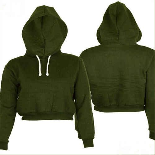 Новинка, Женский однотонный худи, укороченный топ, однотонный, длинный рукав, Женский пуловер с капюшоном, лето-осень, модные толстовки для девочек, одежда