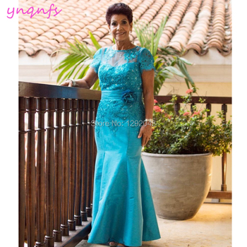 YNQNFS M185 Lace Appliques Beaded Taffeta Formal Dress For Wedding Party Elegant Mother of the Bride Groom Dresses 2019