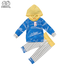 2019 Emmababy Brand New Toddler Baby Boy Girls Cotton Long Sleeve Hoodie Tops + Stripe Pants Outfits