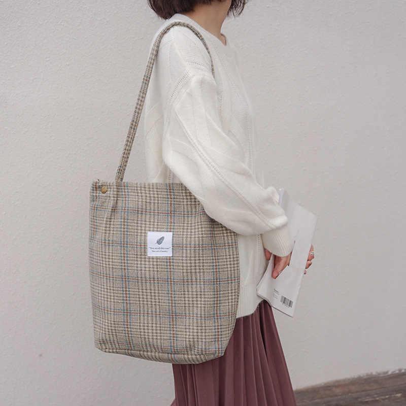 2019 Mulheres Das Senhoras Saco de Ombro Da Lona Do Vintage Ocasional Grande Saco de Compras de Pano Tote Eco Reutilizável Shopper Bolsas das Mulheres