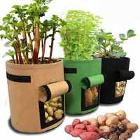Potato Grow Bag 3 Pack Potato Planter Bag Plant Pots 7-Gallon Window Vegetable Planting Grow Bag,Double Layer Premium Breatha