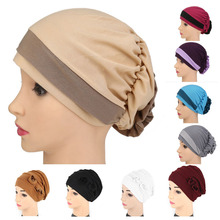 Fashion Muslim Hat Winter Cotton Women Headwear Turban Cap Flower Headbands Elastic Autumn Hair Accessories