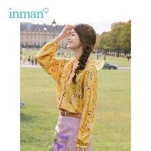 INMAN primavera otoño cuello pico literario retro floral Estilo de vacaciones Casual suelta manga larga Mujer camisa