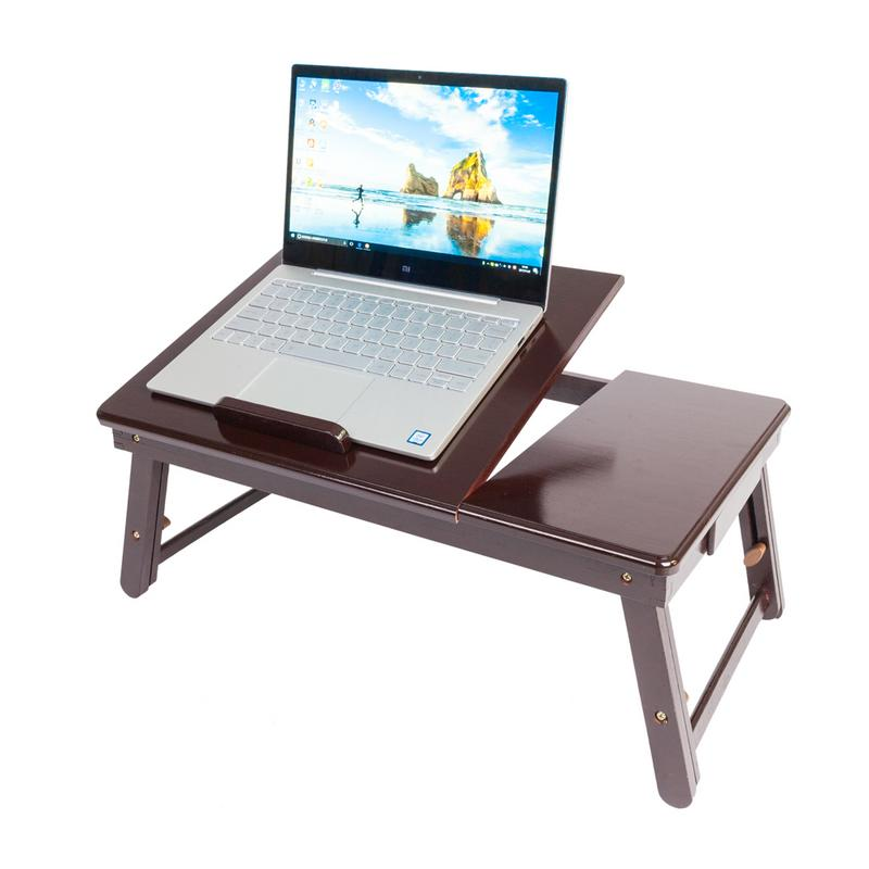 53cm*33cm Retro Double Flowers Pattern Laptop Desk Adjustable Bamboo Lap Desk Tray Computer Desk Bedroom Living Room Simple Desk