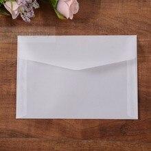 50 шт Прозрачные пустые белые пергаментные бумажные открытки с конвертом пригласительные обложки конверты