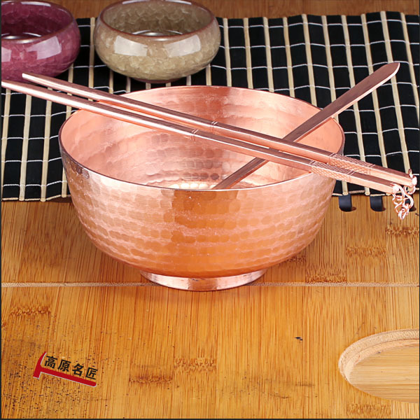 Chinois pur cuivre cuillère cuivre baguettes cuillère à la main vaisselle maison cuivre riz bol ensemble vaisselle