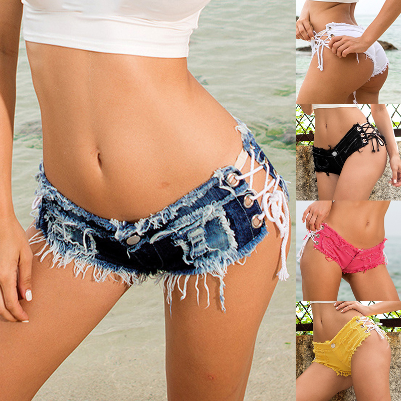Sexy Women Cross Bandage Ripped Denim Booty Shorts Lace Up Low Waist Summer Mini Jeans Punk Rock Beach Bikini Bottoms Club