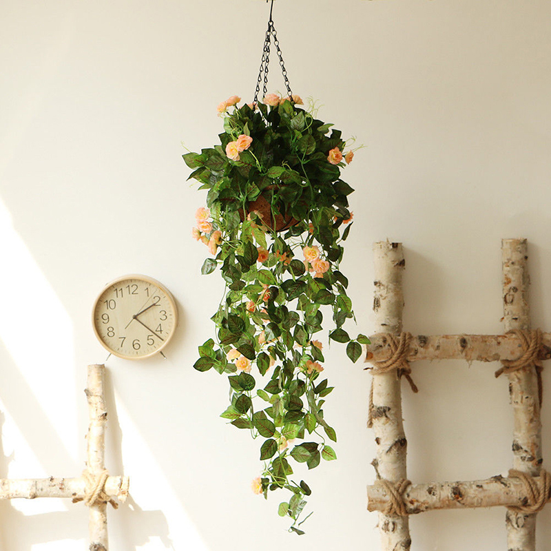 Art Wall Hanging Basket Artificial Rose Flower Plant ... on Decorative Wall Sconces For Flowers Hanging Baskets Delivery id=39585