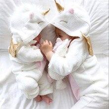 Emmaaby/фланелевые комбинезоны с объемным рисунком единорога для маленьких девочек; Модный теплый комбинезон на молнии с капюшоном для девочек; ropa bebe; комбинезон для новорожденных; одежда