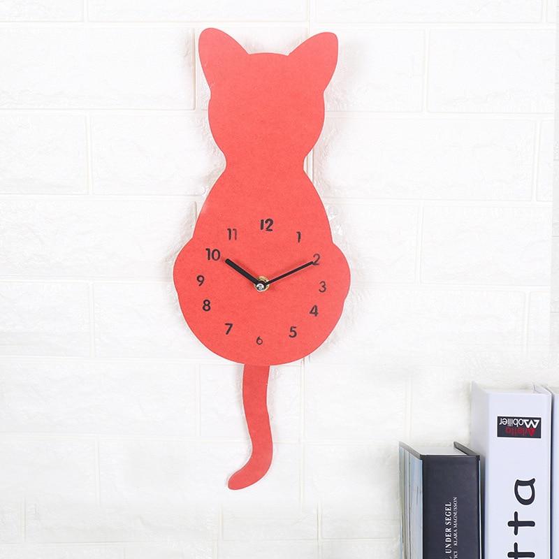 Belle horloge murale chat chambre d'enfant décorative horloge silencieuse Design moderne créatif Animal dessin animé suspendu muet horloge murale queue déplacer