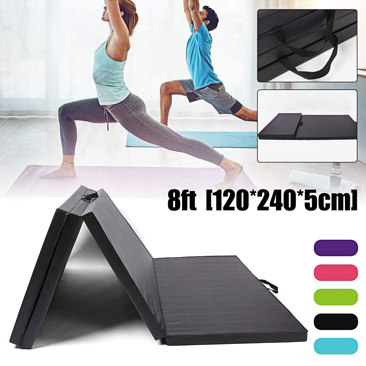 120*240*5 cm Pliage Tapis De Gymnastique Gymnastique Au Sol Tapis De Yoga Exercice Fitness Pilates Gym Exercice de Pique-Nique Pliante tapis Gym Yoga