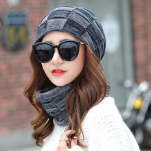 Balaclava Women's Knitted Hat Scarf Caps Neck Warmer Winter Hats For Men Women Skullies Beanies Warm Fleece Cap Plaid 6 Colors