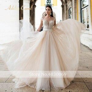 Image 5 - Ashley Carol Backless Appliques A Line Wedding Dress 2020 Beaded V neckline Sleeveless Chapel Train Bridal Gown Vestido de Novia