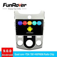 FUNROVER 2 din android 9.0 car dvd For Kia Forte Cerato 2011 2008 2012 radio gps navigation stereo multimedia player 2.5D DSP