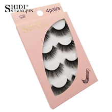 SHIDISHANGPIN 3d mink eyelashes 4 pairs makeup thick fake eyelash natural hand made 1 box extension
