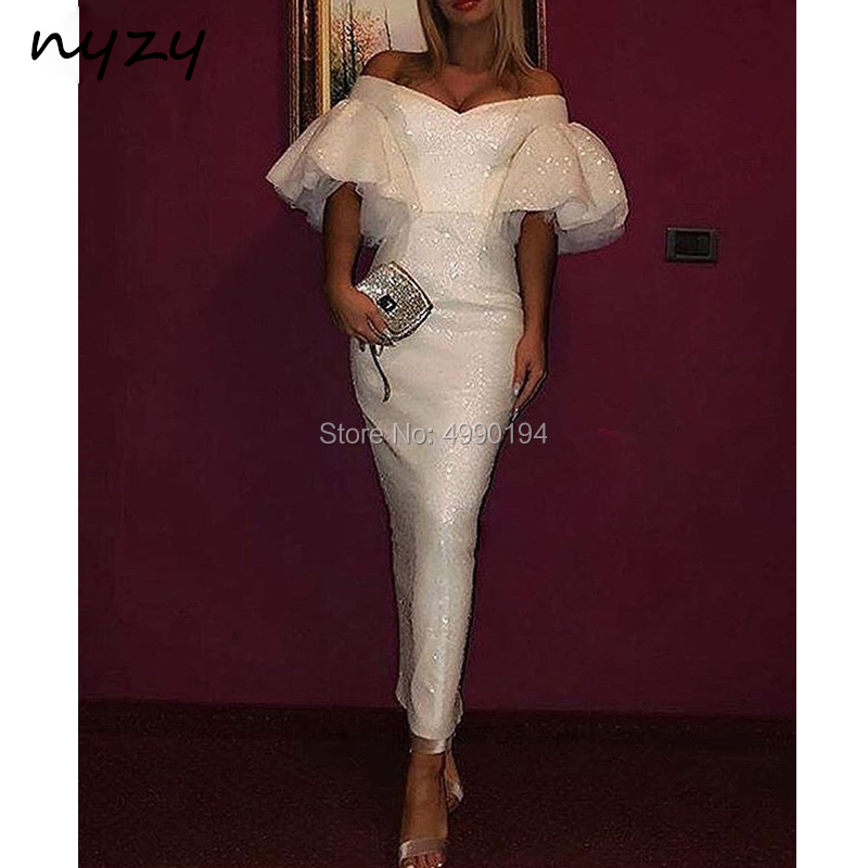 NYZY E41 Dubai Arabic   Evening     Dress   White Sequin Gown Off Shoulder Short Sleeves Mermaid Formal   Dress   Wedding Party   Dress   2019